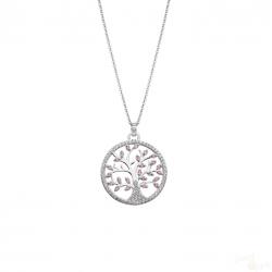Colar Lotus Silver Arvore da Vida Rosa Prata 925