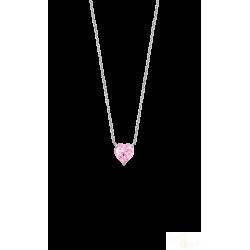 Colar Lotus Silver Heart Pink Stone Prata 925