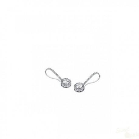 Brincos Lotus Silver Crystal Drop Prata 925