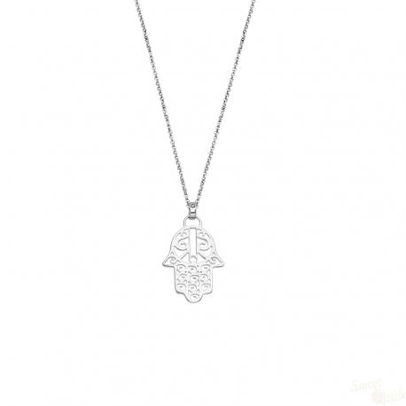 Colar Lotus Silver Hamsa em Prata 925