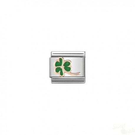 Componível Nomination Four Leaf Clover Link SS Gold 9K Enamel