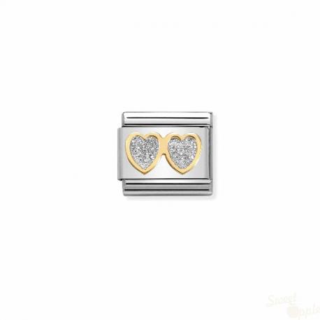 Componível Nomination Two Hearts Link SS Gold 18K Enamel Glitter