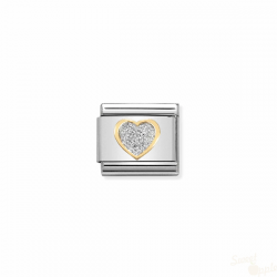 Componível Nomination Heart Link SS Gold 18K Enamel Glitter