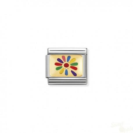 Componível Nomination Color Flower Link SS Gold 18K Enamel